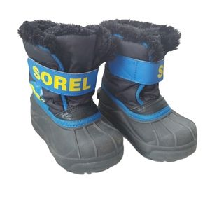 Sorel Boys' Snow Commander Boots, Black/Blue, 8